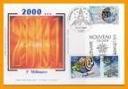 """"""" PASSAGE AU NOUVEAU MILLENAIRE """" Sur Carte Maximum En Soie De 2000 / 2001  N°YT 3357 + 3365 + VIGNETTE. Parfait état CM - Cartas Máxima"""