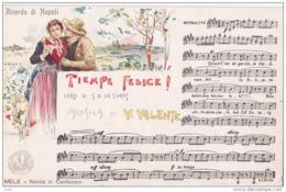 NAPOLI MUSICALE TIEMPE FELICE Musica  V VALENTE IUSTRATA SCOPETTA Cartolina Musicale BIDIERI N1910  HF1213 PERFETTA - Musica E Musicisti