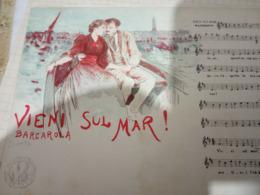NAPOLI MUSICALE VIENI SUL MAR Musica BARCAROLA ILLUSTRATA SCOPETTA Cartolina Musicale BIDIERI N1910  HF1214 PERFETTA - Musica E Musicisti