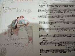 NAPOLI MUSICALE SIGNO' DICITE SI VALENTE  ILLUSTRATA SCOPETTA VENTAGLIO Cartolina Musicale BIDIERI N1910 HF1216 PERFETTA - Musica E Musicisti