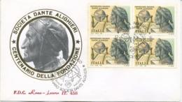 ITALIA - FDC  ROMA LUXOR  1990 - DANTE ALIGHIERI - QUARTINA - ANNULLO SPECIALE - 6. 1946-.. Repubblica