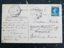 TAUSSAT COMMUNE DE LANTON - GIRONDE - CACHET PLEIN HEXAGONAL AVEC SEMEUSE ROTY - ROYAN CHENES VERTS DE VALLIERES - Poststempel (Briefe)