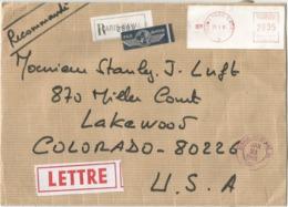 ETIQUETTE EMA 75200 PARIS NAVAL 13.1.1986  28FR35 LETTRE REC AVION POUR USA - Postmark Collection (Covers)