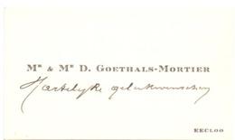 Visitekaartje - Carte Visite - Mr & Mme D. Goethals - Mortier - Eecloo - Eeklo - Cartoncini Da Visita