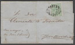 """URUGUAY:  N°31 (margé) Oblitéré """"barres Noires"""" Sur LSC Datée (1870)      - Cote 200€ - - Uruguay"""