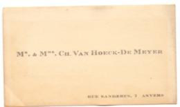 Visitekaartje - Carte Visite - Mr & Mme Ch. Van Hoeck - De Meyer - Anvers - Antwerpen - Cartoncini Da Visita