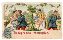 CPA      1904   DESAGREABLE INTERRUPTION    - COUPLE SOLDAT   -   BEBE AU SEIN      -      CHANGEMENT DE LA COUCHE - - Bébés