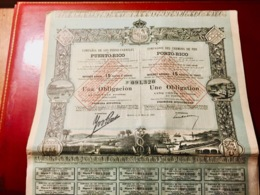 Cie  Des  CHEMINS  De  FER  De  PORTO-RICO -----Obligation  De 500 Piécettes - Chemin De Fer & Tramway