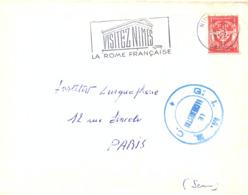 CACHET MILITAIRE G.I.M.B.C. GROUPEMENT D'INSTRUCTION DES MATERIELS ET BATIMENTS COLONIAUX NIMES GARD Du 14-5-1957 - Marcophilie (Lettres)