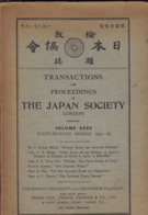 Transactions And Proceedings Of The Japan Society. Volume XXXV, Forty-seventh Session, 1937-38 - History