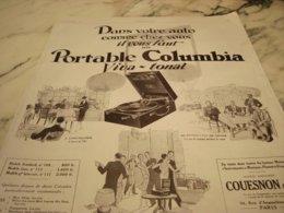 ANCIENNE PUBLICITE DANS VOTRE AUTO PORTABLE  COLUMBIA  1927 - Music & Instruments