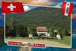 Postcard, REPRODUCTION, Municipalities Of Switzerland, Corcelles-près-Concise - Landkarten