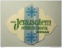 HOTEL MOTEL INTERCONTINENTAL JERUSALEM JORDAN VINTAGE OLD ISRAEL TAG STICKER DECAL LUGGAGE LABEL ETIQUETTE AUFKLEBER - Hotel Labels