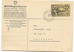 "208 - 71 - Carte Avec Timbre Et Cachet ""CP Mob Can Inf 21"" - Soldaten Briefmarken"