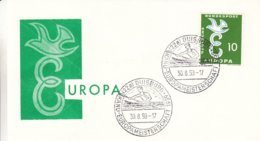 Canoë - Allemagne - République Fédérale - Lettre De 1959 - Oblit Duisburg - Championnat D'europé De Canoë - Europa 58 - Kanu