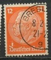 Allemagne Empire - Germany - Deutschland 1932-33 Y&T N°448 - Michel N°(?) (o) - 12p P Von Hindenburg - Gebraucht