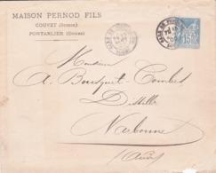 Enveloppe Sage 15 C Bleu J94q Oblitérée Repiquage Pernod - Buste Postali E Su Commissione Privata TSC (ante 1995)