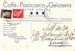 """TERMOLI - CAMPOBASSO - CAFFE' PASTICCERIA GELATERIA """"MAUTONE"""" TRE STELLE - DOLCI CONFETTI LIQUORI VINI CARAMELLE - 1938 - Campobasso"""