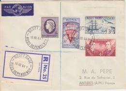 Polaire Néozélandais, N° 1 à 4 Obl. Scott-Base Le 16 NO 64 Sur Lettre Par Avion Recommandée R 25 - Ross Dependency (New Zealand)