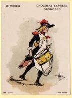 Trade Card. Chromo Chocolat Grondard. Le Tambour, Illustration A. Guillaume. - Altri