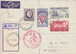 Polaire Néozélandais, N° 1 à 4 Obl. Scott-Base Le 15 JA 66 Sur Lettre Par Avion Rec. R57 + Cachet Research Et Taxe 6/24 - Cartas