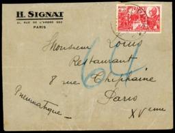"""PNEUMATIQUE / N° 608 Rare Seul Sur Pli / Obl. C-à-d """"PARIS R.P. 24/4/44"""" (PREMIER JOUR D'émission De Ce Timbre). - Marcophilie (Lettres)"""
