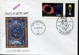 48452 Romania, Spcial Cover And Postmark Cluj Napoca, 2003 Nostradamus,doctor Mathematical, Astronom - Astronomia