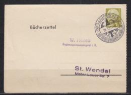 Saarland Bücherzettel EF 384 Von Saarbrücken 2/26.1.57/Der Bundespräsident An Der Saar Nach St.Wendel - 1947-56 Occupazione Alleata
