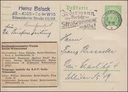 P 225I Verein Wilmersdorf BERLIN-CHARLOTTENBURG Straßenverkehr 8.2.37 - Enteros Postales