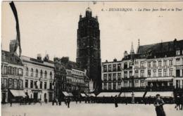 Dunkerque La Place Jean Bart Et La Tour ( Beffroi , Café , Banque Société Générale - Dunkerque