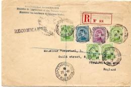 SH 0144. N° 137 (4)-140-141 Ste ADRESSE/POSTE BELGE 20.III.17 S/Lettre RECOMMANDEE V. Stratford (Angl.) - GFF Ministère - Guerre 14-18