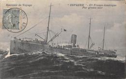 """Paquebot - Souvenir De Voyage - Paquebot """"ESPAGNE"""" - Compagnie France-Amérique Par Grosse Mer - Paquebots"""