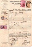 Publication De Mariage 1939, Mairie De Querrien, 3 Timbres Fiscaux De 1 Franc Rose, 60c Et 40c Et Un Dimension 4 Francs - Vieux Papiers