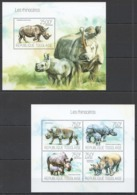 TG680 2013 TOGO TOGOLAISE FAUNA WILD ANIMALS LES RHINOCEROS KB+BL MNH - Rhinoceros