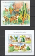 TG681 2013 TOGO TOGOLAISE FLORA & FAUNA FLOWERS WILD ANIMALS CACTUS AND COYOTES KB+BL MNH - Briefmarken
