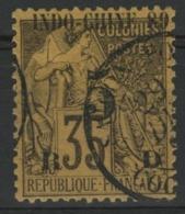 INDOCHINE N°2 5ct Sur 35ct Violet-noir Sur Jaune. Cote 13€. TB - Indocina (1889-1945)