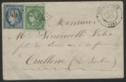 """CORSE PIEDICROCE N° 42B + N° 37 Obl. GC """"2844"""" + C-à-d (T17) """"PIEDICROCE (19) 3/9/-"""". Affranchissement De Septembre 1871 - 1849-1876: Classic Period"""