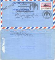 FRANCE Aérogramme 1016-AER Transport Ballon Bicentenaire Droits Homme - Cachet Projet Annnulé [GR] - Fesselballons