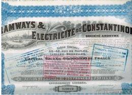 Ancienne Action - Tramways & Electricité De Constantinople - Titre De 1921- N° 239019 - Déco - Railway & Tramway