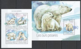 TG744 2013 TOGO TOGOLAISE POLAR FAUNA WHITE BEARS LES OURS POLAIRES KB+BL MNH - Bears