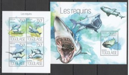 TG750 2013 TOGO TOGOLAISE FAUNA MARINE LIFE SHARKS LES REQUINS KB+BL MNH - Marine Life
