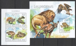 TG751 2013 TOGO TOGOLAISE FAUNA WILD ANIMALS BIRDS REPTILES PREDATORS HUNTERS KB+BL MNH - Stamps