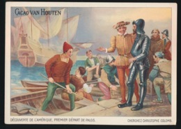 CHROMO 14 X 10 CM  CACAO VAN HOUTEN - DECOUVERTE DE L'AMERIQUE  PREMIER DEPART DE PALOS - Van Houten