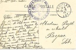 46-cachet Hôpital N°133 Bis De Souillac Sur CP En 1915 -cachet Rare-prix En Baisse - Postmark Collection (Covers)