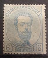 ESPAÑA.  EDIFIL 119 *.  6 CT AZUL AMADEO I. - 1872-73 Reino: Amadeo I