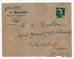 1945--Lettre De PEYRAT LE CHATEAU-87 Pour LIMOGES-87--tp Marianne Gandon-cachet Rond--Reyberole - 1921-1960: Moderne