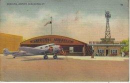 ETATS UNIS ( Amerique ) - MUNICIPAL AIRPORT, BURLINGTON -( Avion Et Aeroport ) - Carte Toilée - Burlington