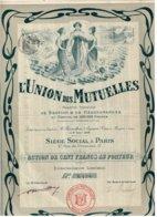 Ancien Titre - L'Union Des Mutuelles Société Anonyme De Gestion & De Réassurances - Titre De 1908 - Déco - Bank & Insurance