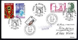VISITE DE JEAN-PAUL II METZ 1988 - TAXE  OBLITÉRATION CONSEIL DE L'EUROPE - - Popes