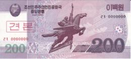 SPECIMEN - BILLETE DE COREA DEL NORTE DE 200 WON DEL AÑO 2008 (BANKNOTE) SIN CIRCULAR-UNCIRCULATED - Corée Du Nord